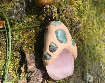 Heart Chakra Emerald and Rose Quartz Clay Pendant