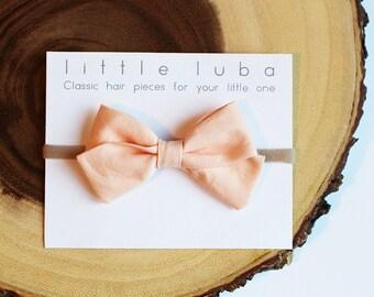Peach Ice, Classic Bow : Baby Headband, Toddler Hair Bow, Baby Girl Headband, Girls Bow Headband