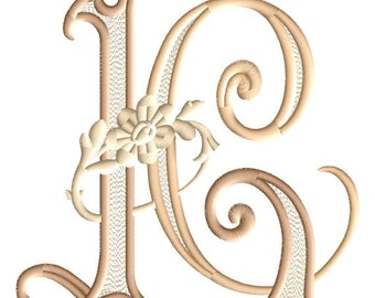 """L and C #2 Two-Letter Monogram Combination  Machine  Embroidery Design in 3 Sizes - for 5""""x 7""""   hoops"""