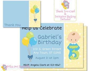 Boys Birthday Party Invitation, Birthday Invitation, Boy Invitation, Personalized Invitation, Three Year Old Birthday, Third Birthday Invite