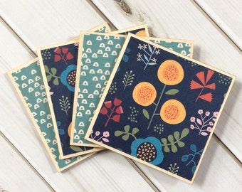 Navy Coasters, Teal Coaster, Wood Coaster Set, Floral Coasters, Geometric Coasters, Set of Coasters, Navy Decor, Teal Decor, Wood Coasters