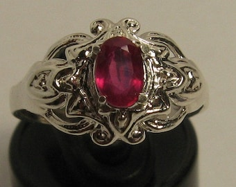 Natural ruby 0.75 ct & sterling silver 925 ring size 7