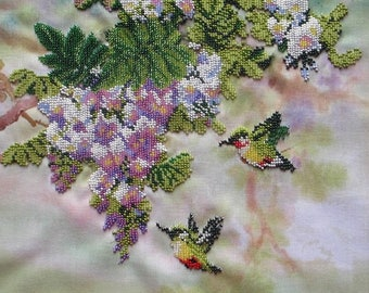 "Embroidery with beads ""hummingbirds and flowers""  12""x10"" on fabric, embroidered with Czech and Japanese beads, handmade, picture from beads"