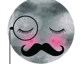 Digital Download Print Printable Moon Mustache Monocle Nursery Childrens Kids prints  Bedroom wall art