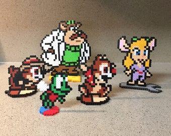 Chip & Dale Rescue Rangers Perler Beads Sprites - Nintendo Video Game Inspired
