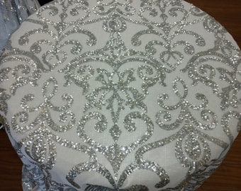 Fashion Eternity Damask Sequins Lace Fabric - Silver/White - sold By The Yard/  Free  Shiping