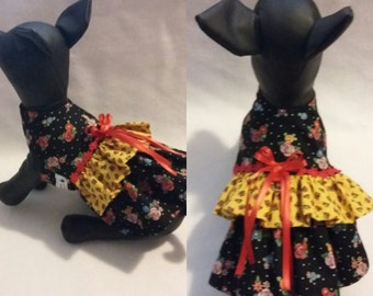 Mary Engelbriet, girl dog dress, floral dog dress