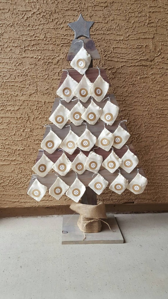Rustic Wooden Advent Calendar Tree