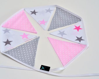 Bunting Garland Fabric Flags Pennants : Pink, Grey, White