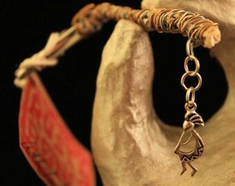 Dread Clip Smoking Clip OOAK Rusty Bones Skeleton Bones Kokopelli Hopi Wire Wrap Hair Clip Roach