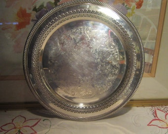 Wm Rogers Silver Tray Vintage 1970's #170 Silver Plate Ornate Reticulated Trim Round Serving Dining Home Decor