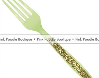 Sparkle FORKS (12 pc) -- Pastel/Mint Green Plastic Utensils with Gold or Silver Glitter
