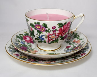 Vintage Tea Cup Candle Vintage China Tea Cup, Saucer and Plate Trio. Crown Staffordshire.  Rose Soy Wax Candle. By Fizzy Fuzzy.