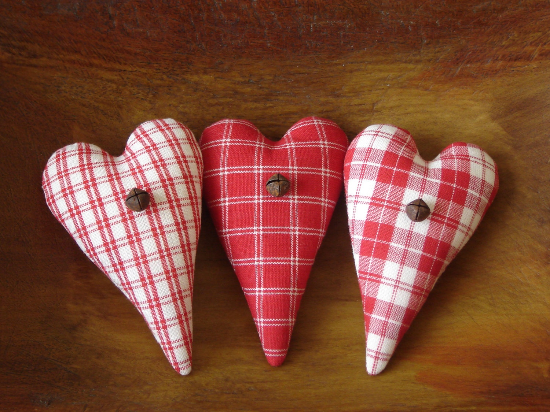 Primitive Heart Bowl Fillers Red Homespun Fabric