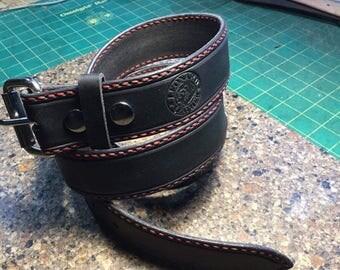 Black Hand Stitched Belt ~ Red Thread ~ **ON SALE **