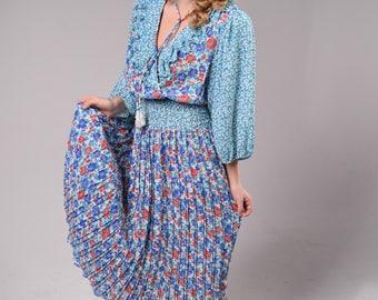 Diane Freis Designer Vintage 1980's Pleated Boho Dress