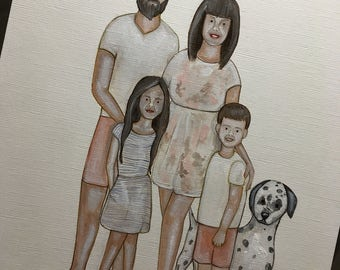 Custom illustration / portrait of children or family. Hand painted personalised keepsake Father's Day gift
