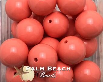 Ten (10) pc Chunky 20mm Bubblegum Acrylic Solid Beads PAPAYA ORANGE -10pcs
