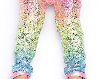 Unicorn leggings- baby girl leggings- toddler leggings- kids leggings- metallic, sparkly holographic leggings- whimsical rainbow leggings