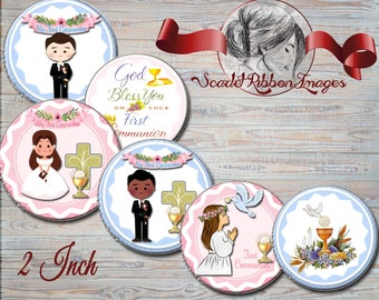 First Communion 2 INCH CUPCAKE TOPPERS - Party Supplies - Gift bag tags - Firs Communion