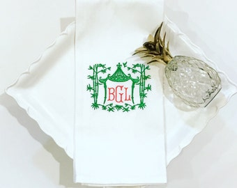 Pagoda Monogrammed Dish Towel-Kitchen Items-Chinoiserie-Wedding Gift-Bar Cart-Personalized-Preppy-Ornate
