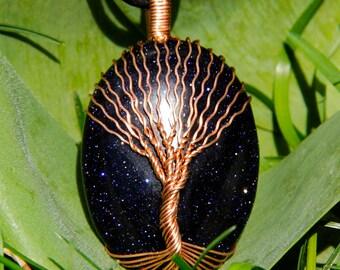 Aventurine Jewelry - Natural Aventurine - Sacred Pendant - Aventurine Blue - Blue Aventurine - Blue Stone - Blue Beads - Tree Necklace