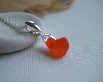 Scottish orange sea glass necklace, tangerine sea glass necklace, petite bright orange necklace, very rare orange sea glass, sterling silver