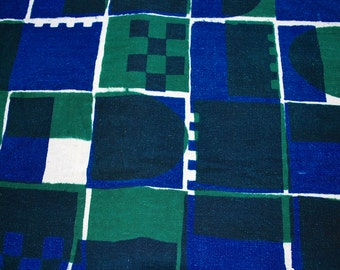 Blue and Green Printed Cotton Weave