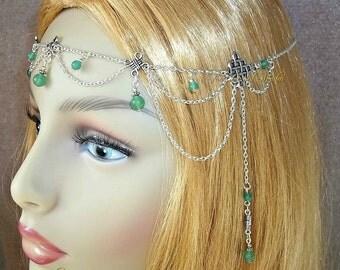 Celtic Green Aventurine Circlet, Celtic Headpiece, Renaissance Circlet, Medieval Headdress, Celtic Maiden, Gemstone Head Chain, Celtic Knot
