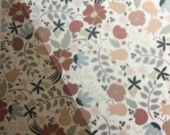 V0017 - Pretty Fall  Floral Printed Vellum