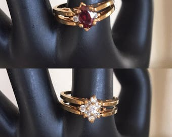 Vintage Reversible Ring Faux Garnet and Clear Rhinestones  ~ Size 9