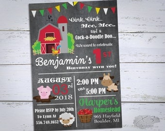 Farm Birthday Invitation, Printable Barnyard Birthday Invitations, First Birthday Invitations, Boy 1st Birthday Invites, 2nd Birthday