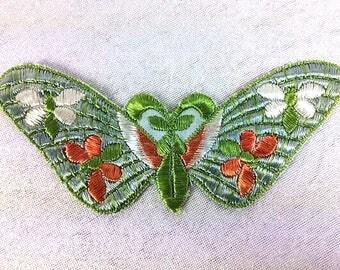 Antique Applique Vintage Silk Green Blue Butterfly Patch Embroidery Applique Patches Antique Butterfly Applique Patch 1935 Small Nr 1