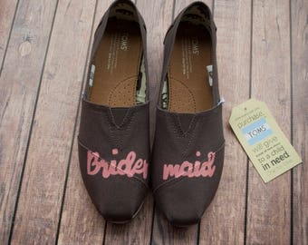 Hand Painted Bridesmaid Women's Toms