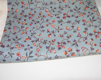 Cotton Fabric, Slate Blue Floral, 1 Yard