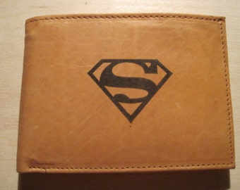 """Mankind Wallets Men's Leather RFID Blocking Billfold w/ """"Superman"""" Image-Makes a Great Gift!"""