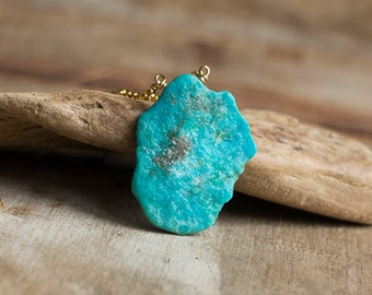 Raw Turquoise Slab Necklace, December Birthstone, Genuine Arizona Turquoise Necklace, Natural Turquoise Jewellery, Rough Stone Necklace