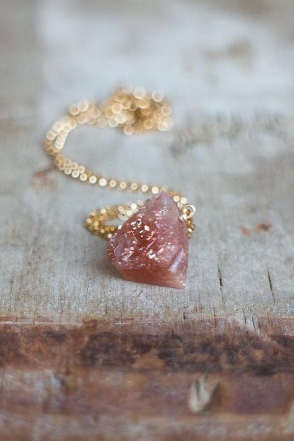 Raw Sunstone Necklace, Good Luck Crystal Necklace, Rough Crystal Jewelry, Sunstone Jewellery, Sacral Chakra Necklace