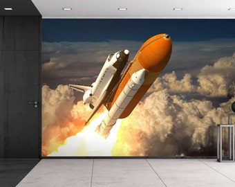 Rocket Ship Blasting Off Into Space  Wall Mural, Removable Sticker   100x144