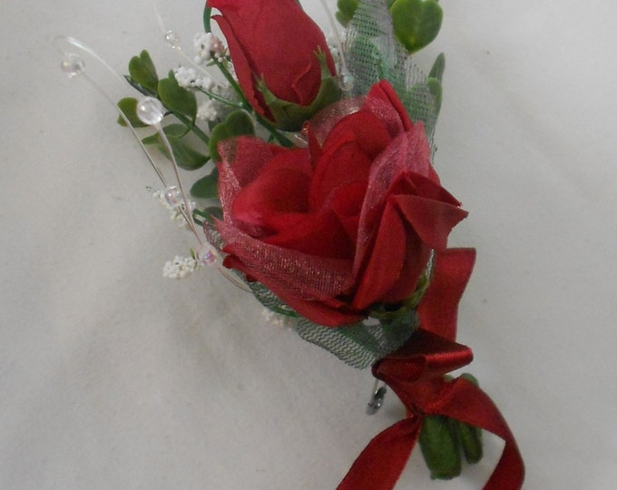 Set of 10 deep red  roses boutonniers or corsages