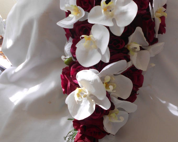 Burgundy cascade bouquet with white and burgundy  orchids orchids 8 pieces