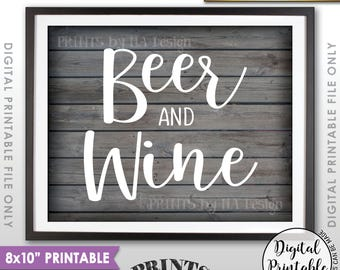 """Beer and Wine Sign, Bar Sign, Beer & Wine, Beverage Station, Drinks Sign, Wedding Bar, Rustic Wood Style 8x10"""" Printable Instant Download"""