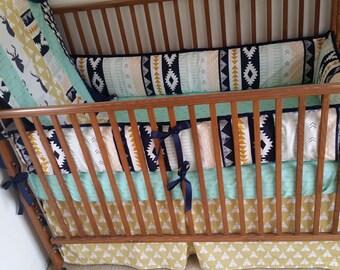 Aztec, arrows and tee pee baby bedding set, aztec 4 pieces baby bedding.