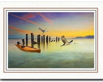 Wooden Kayak, Sandhill Cranes, Ocean Sunset,Photo Greeting Card, Photo Note Card, All Occasion Card, Handmade Card, 5x7 Blank Card, Fine Art