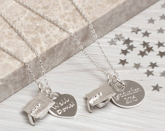 Personalised Sterling Silver Graduation Necklace