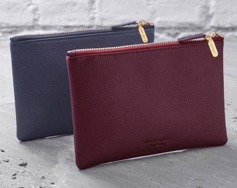 Personalised Leather Clutch Bag Or Cosmetic Purse - Personalized