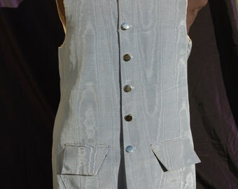 pirate waistcoat (vest) long 18th Century . light blue moire