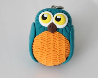 Turquoise and orange Owl keychain