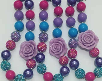 Purple rose chunky necklace