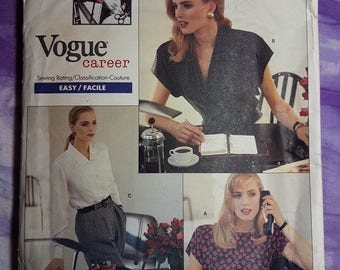 Vogue 2069 Anne Klein 11 Career Shirt Vintage 80s sewing Pattern Sizes 12 to 16